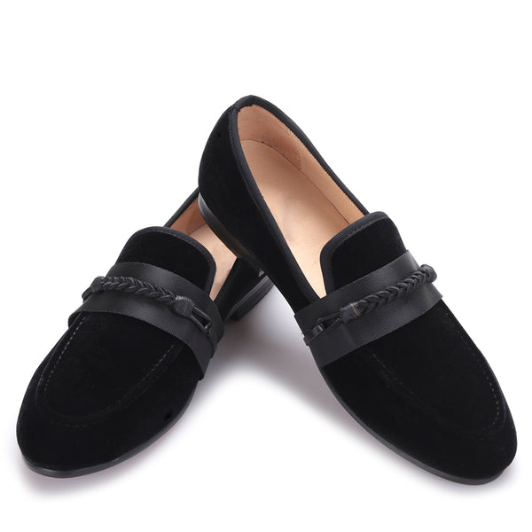 velvet handmade weaving rope loafer