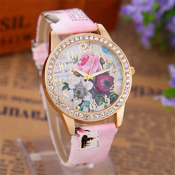 Rhinestone Gold Plated Bohemia Flowers Leather Watch