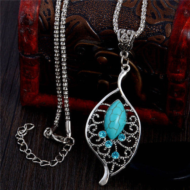 Silver Leaf Resin Stone Pendant Chain