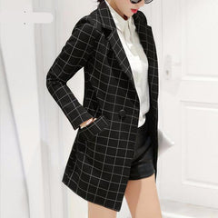 ong plaid long-sleeve Suit blazer