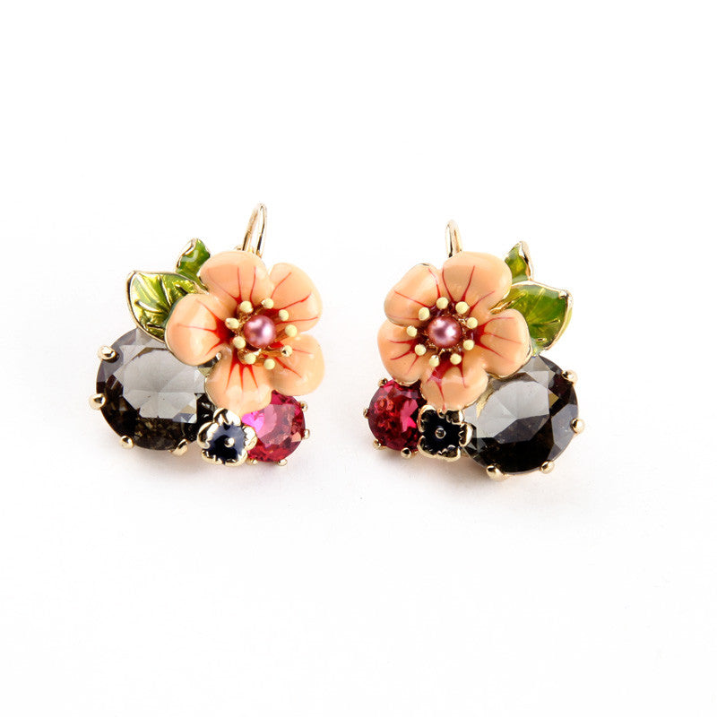 Bohemia Glass Enamel Flower Earring