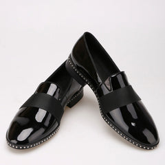 Handmade Patent leather black buckle loafer