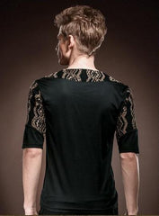 Personality lace palace black cotton Shirt