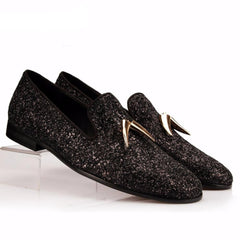 Black Glistening Glitter Loafer