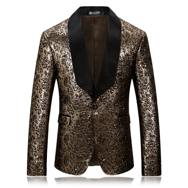 Gold Floral Slim Fit Black Lapel Blazer