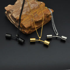 Fitness Barbell Dumbbells Pendants & Necklace