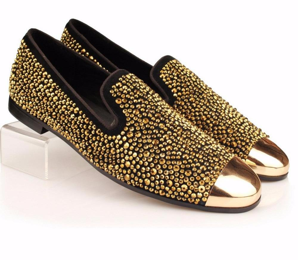 Metal toe Gold Strass Loafer