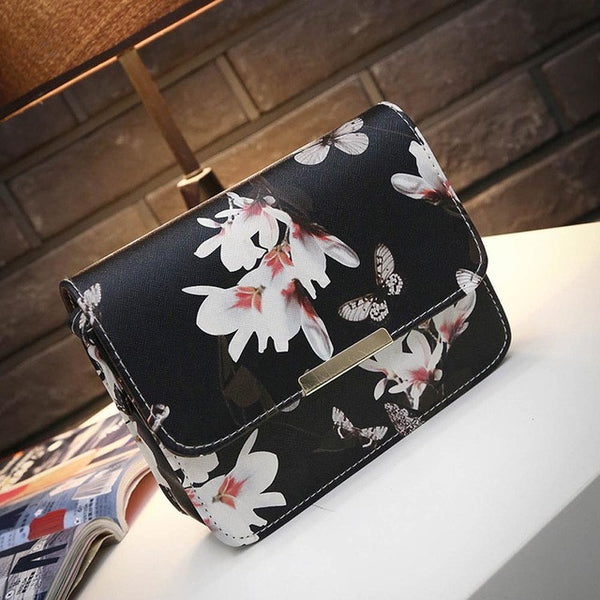Flower Butterfly Leather Shoulder Bag