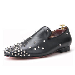 Black leather multi-level spikes loafer