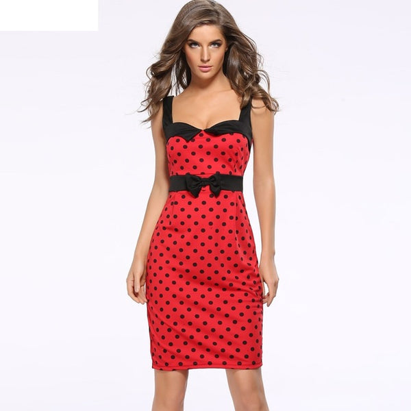 Dot Spaghetti Strap Slim Backless Dress