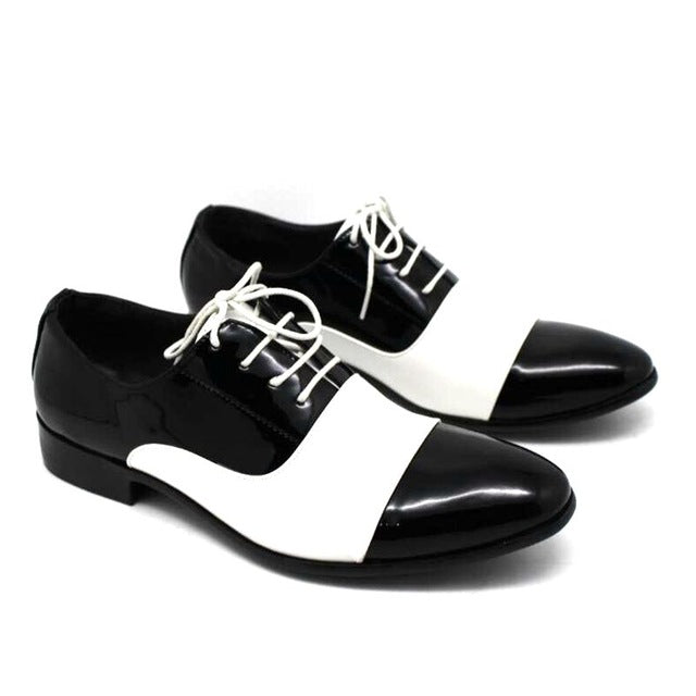 Patent Soft Leather Mixed White Black Shoes