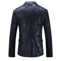 Black Floral Slim Fit Blazer