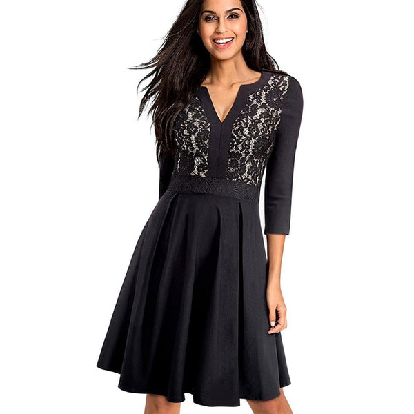 Solid Black Flower Lace Patchwork Elegant Flare Dress