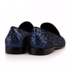 Navy blue Glitter Leather  Loafer
