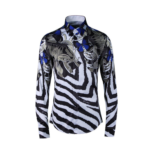 Striped Brand Print Long Sleeve Slim Fit Shirt