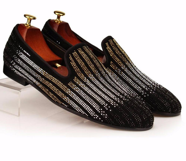 Striped Rhinestones Loafer