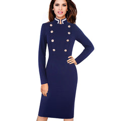 Long Sleeve Stand Collar Double-Breasted Button Dress