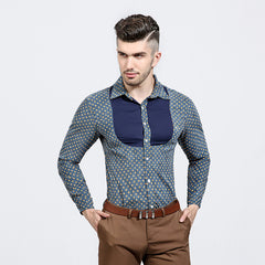 Patchwork Cotton Long Sleeve Shirt