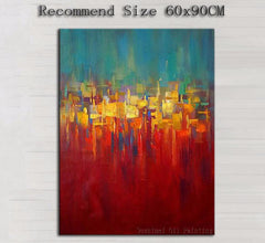 Colorful Abstract Hand Painted Modern Oil Painting