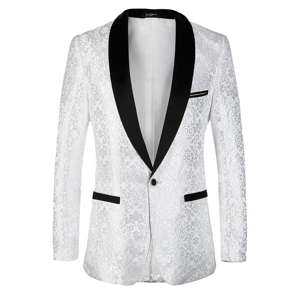 White Suit Floral  Slim Fit Blazer