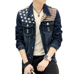 Cotton Flag Printing Jeans Slim Fit Bomber Jacket