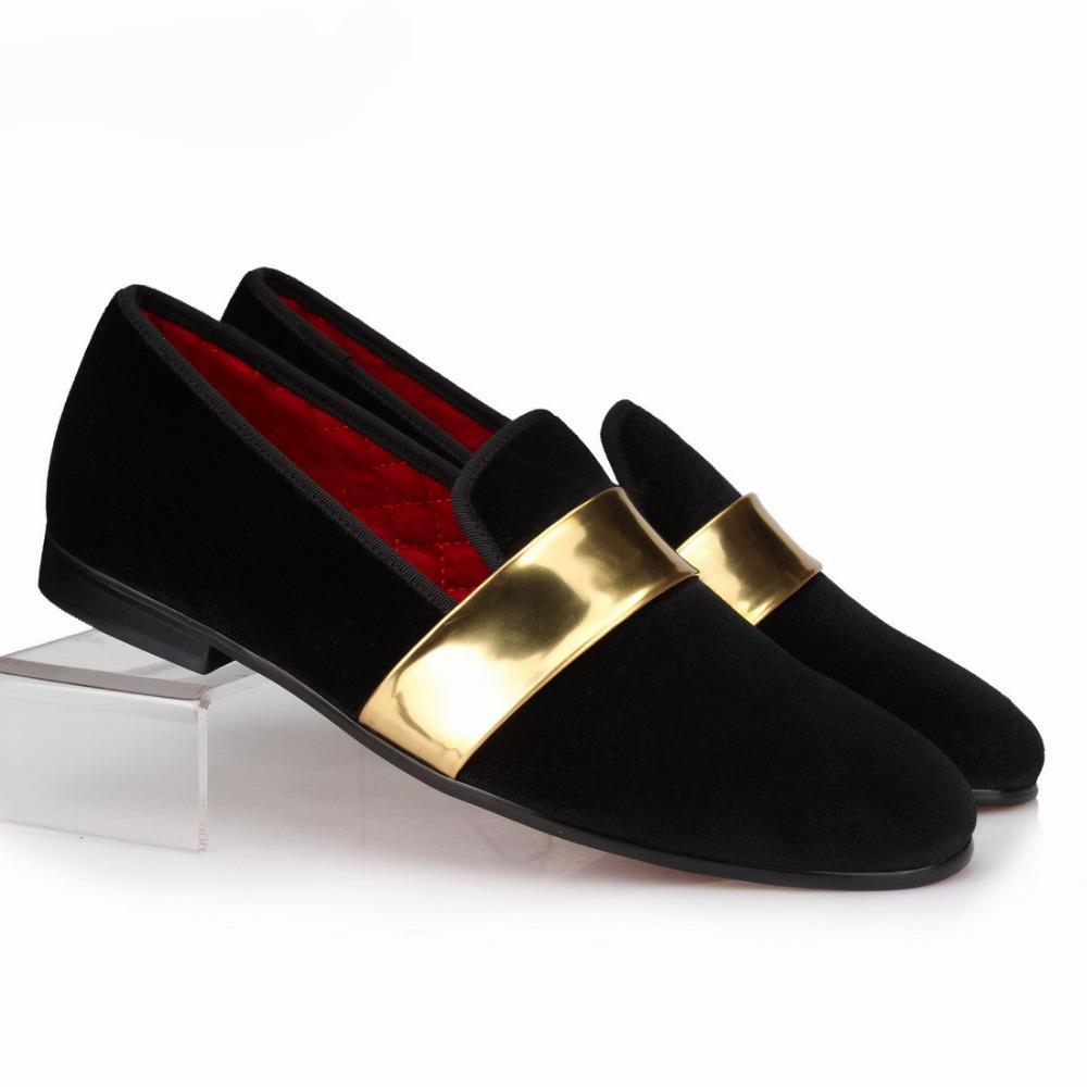 Black Gold belt Velvet Loafer