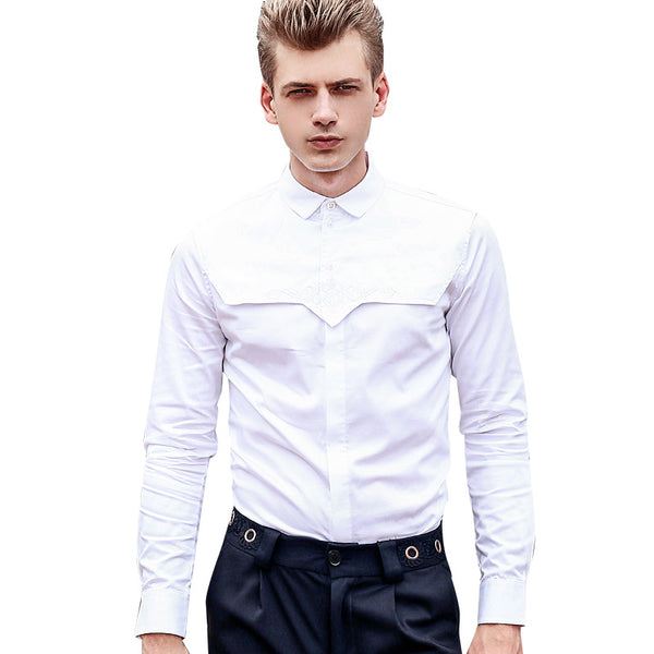 white wrinkle long sleeved slim Shirt