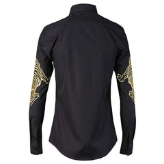 Tiger Embroidery s Long Sleeve Slim Fit Shirt