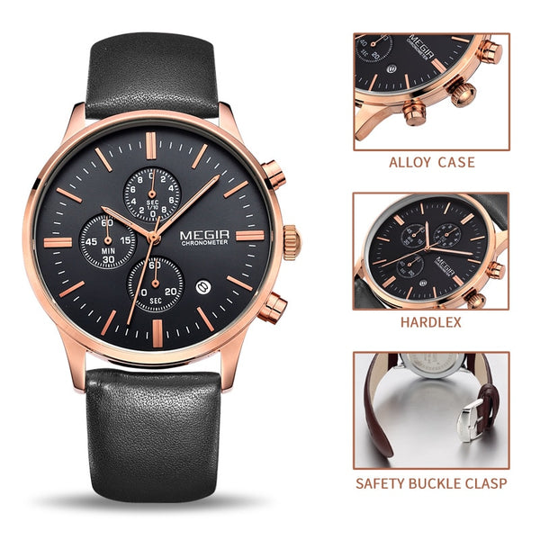 Luxury Quartz Leather Gold Watch