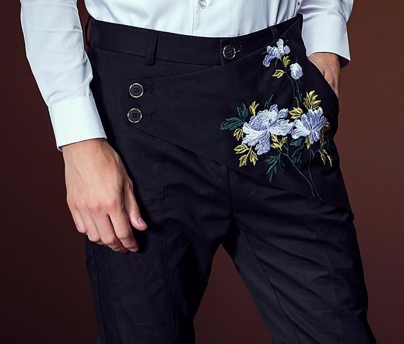embroidered Pants Slim Fit Irregular Trousers