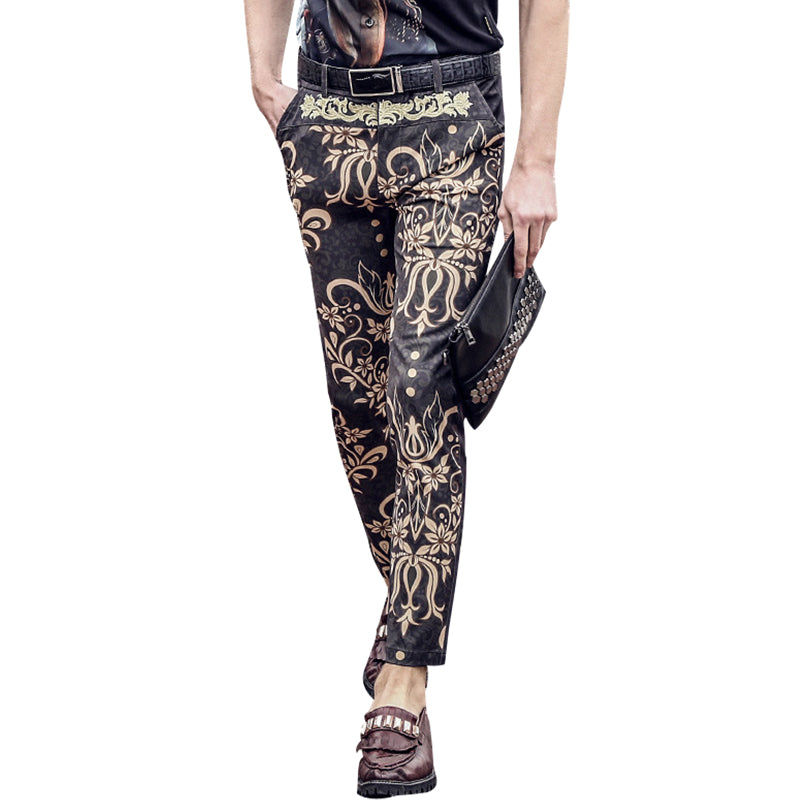 Flowers Print Pencil Slim Fit Trouser