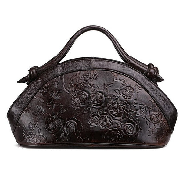 leather Leisure Retro Printing Flowers handbag