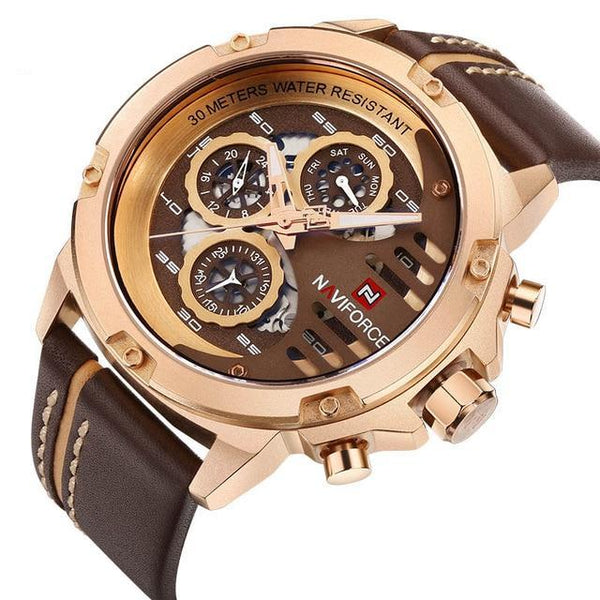 Gold Leather Sport Wrist Watch
