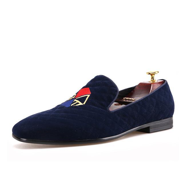 Graffiti embroidery velvet loafer