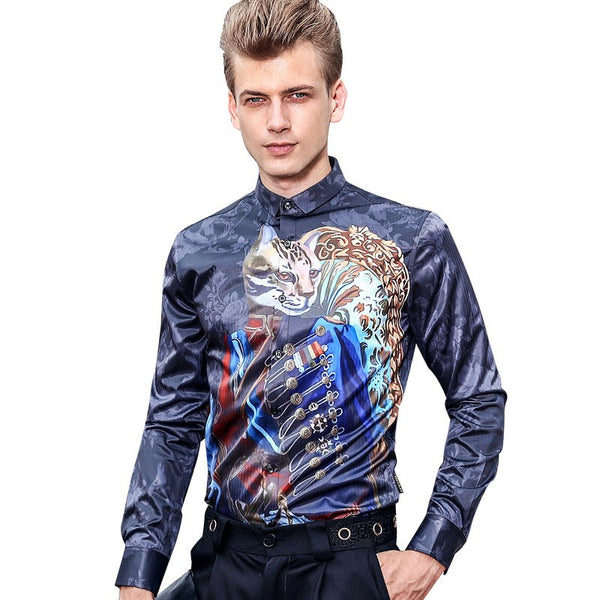 Trend pattern Long sleeved printed slim shirt