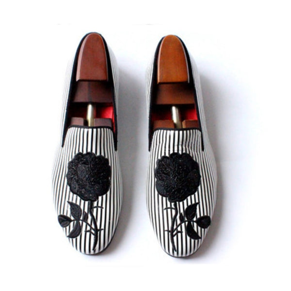Black-white striped embroidery rose Loafer