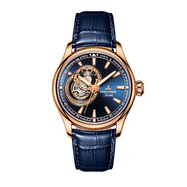 Rose Gold Tone Tourbillon Dial Quartz Analog Wrist Watch
