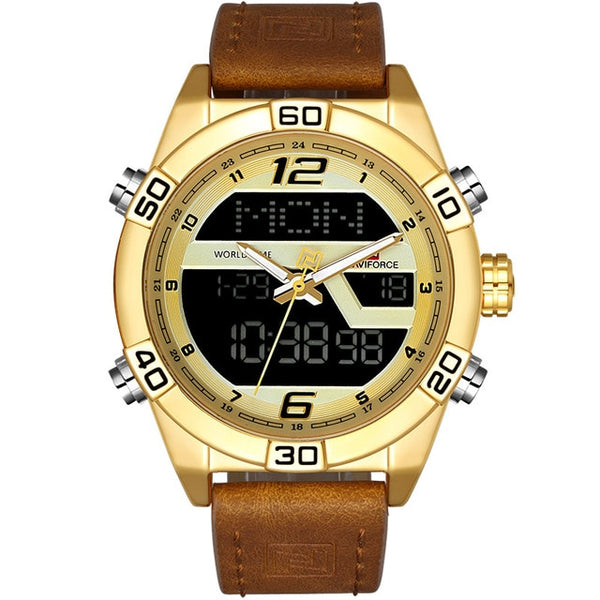 Gold Waterproof Quartz Date Clock Leather Army Military Wrist Watch