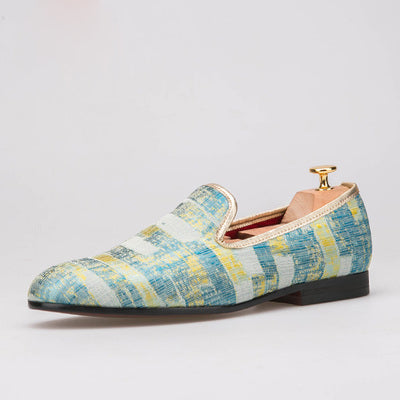 Gold Oil painting trendy smoking Loafer
