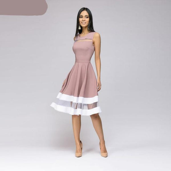 Sleeveless Vestidos slim O-neck sexy dress