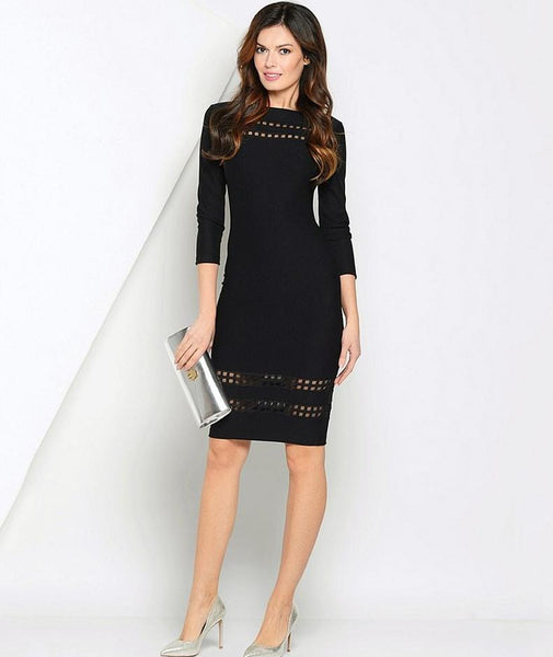 Three Quarter Sleeve O Neck Dress