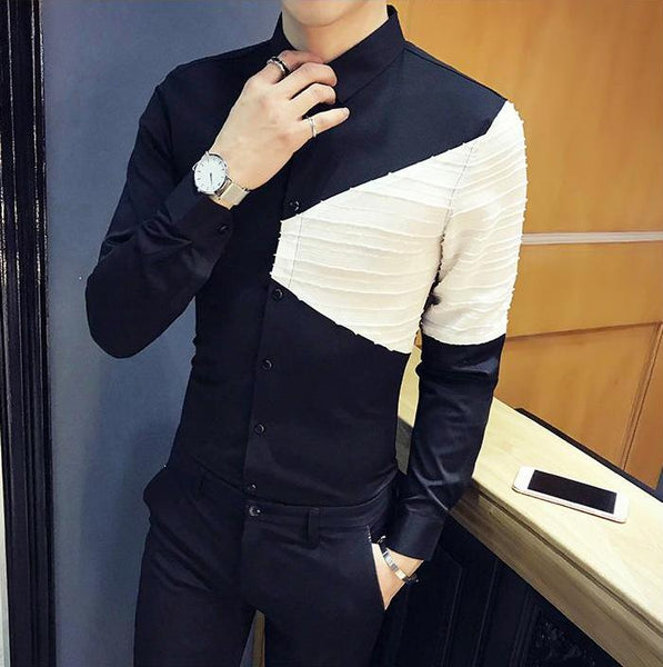 Tuxedo Patchwork Long Sleeve Shirt