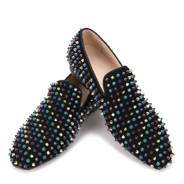 Leather mixed colors rivets Banquet loafers