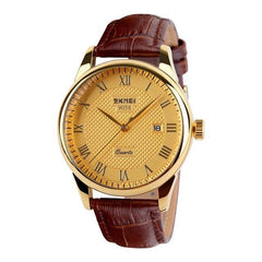 Gold Quartz Leather Watch