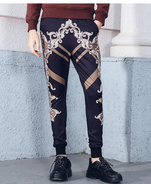 Spring palace roll grass printed design jogger pants trousers
