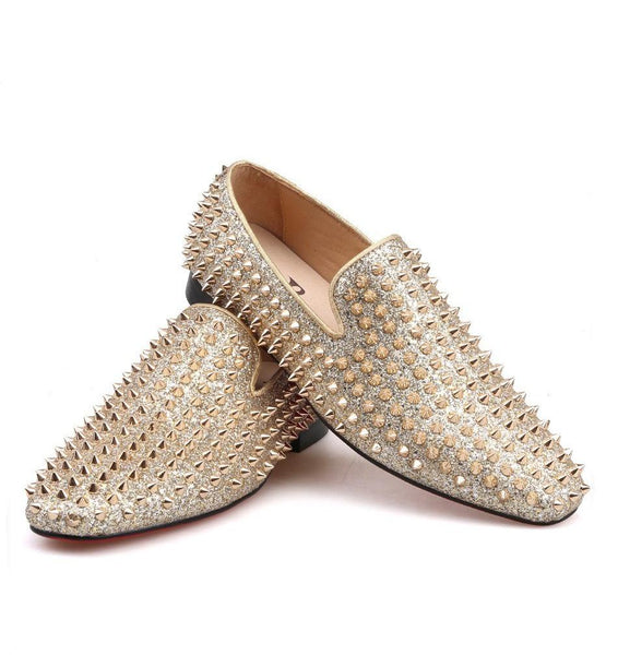 Handmade gold spikes leather loafer