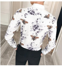 Digital print baroque long sleeve slim fit Shirt