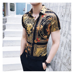 Luxury Gold Black Short Sleeve Shirt