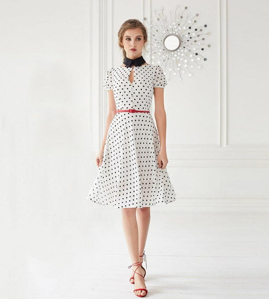 De Festa white black polka dots dress