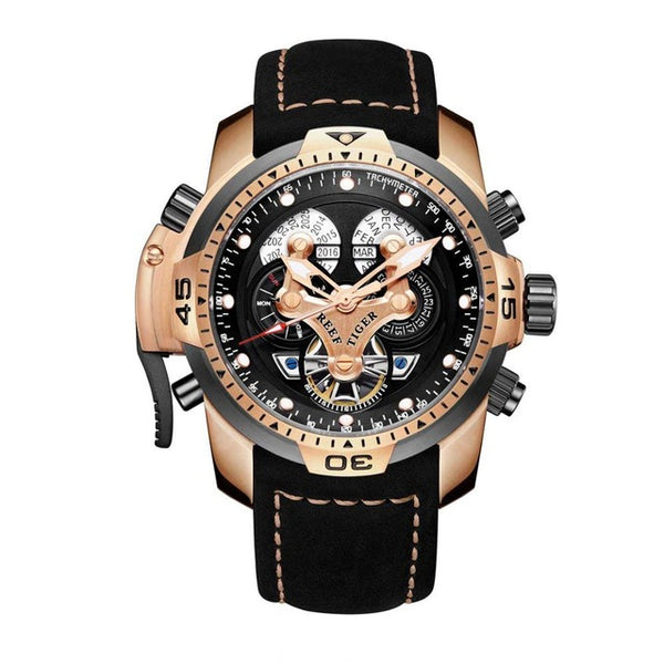 Rose Gold Leather Military Strap Automatic Watch